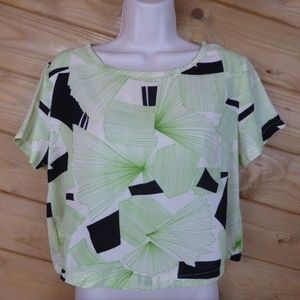 ASTR Lime Green Beige Geometric Crop Top